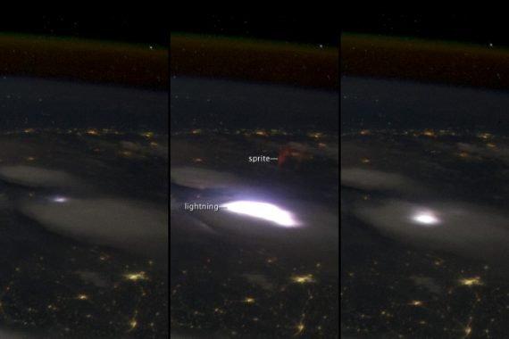 Спрайт на Земле, наблюдаемый с Международной космической станции